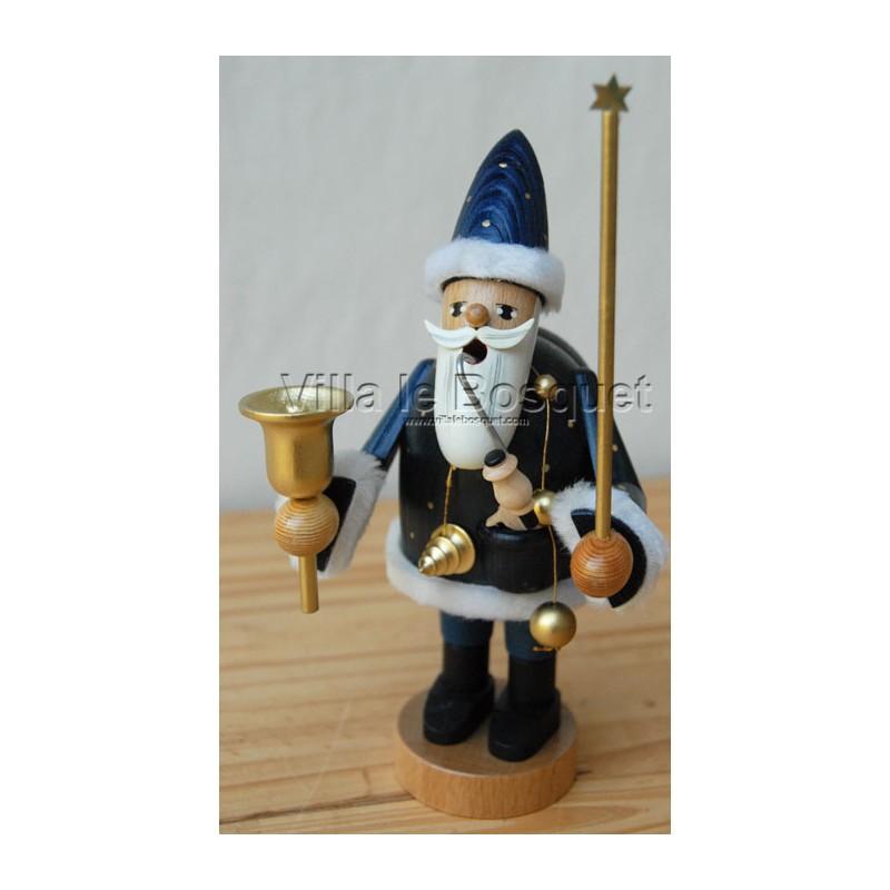 ... FIGURINES > DECO MAISO PERE NOËL BLEU - figurine en bois - cadeau