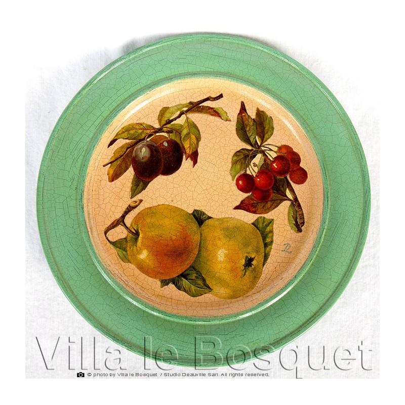 Deco maison assiette fruits objet de d coration en bois for Assiette de decoration