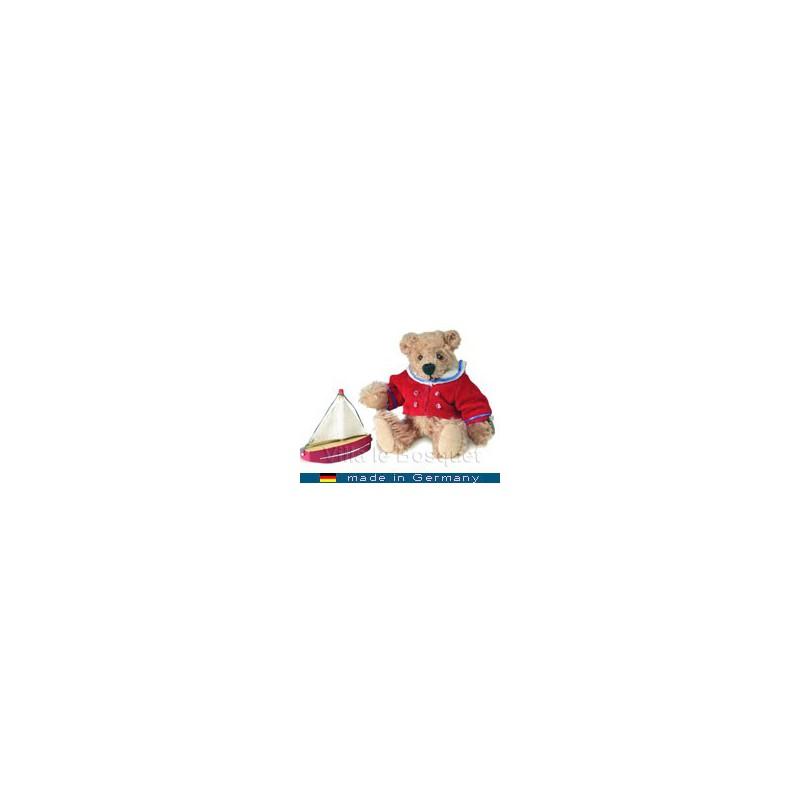 OURS-MINIATURE THOMAS avec Bateau - ours d'artiste Hermann Teddy Miniaturen