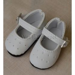 MINOUCHE CHAUSSURES DE POUPEE BLANCHES 34 cm - chaussures de poupée