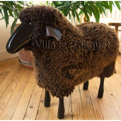 DECO MAISON MOUTON EN BOIS BLACKY - déco-mouton en bois avec véritable toison de laine