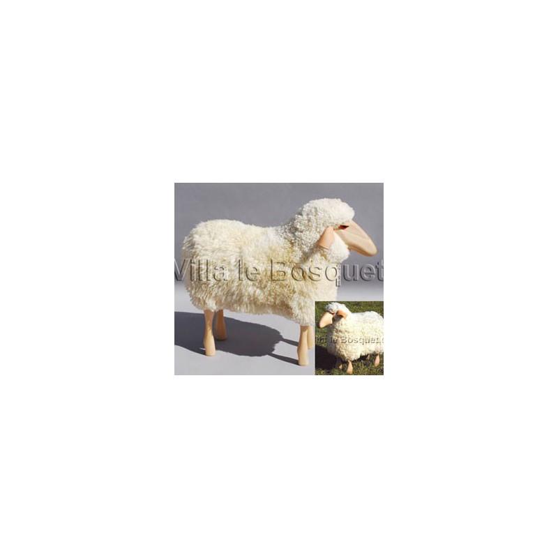 DECO MAISON MOUTON EN BOIS FRIEDA - déco-mouton en bois avec véritable toison de laine