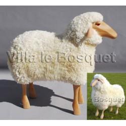 DECO MAISON MOUTON EN BOIS HILDE - déco-mouton en bois avec véritable toison de laine
