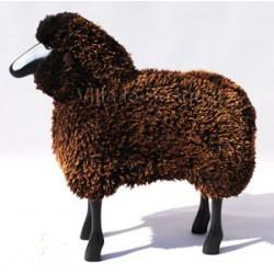 DECO MAISON MOUTON EN BOIS BIG BLACKY - déco-mouton en bois avec véritable toison de laine