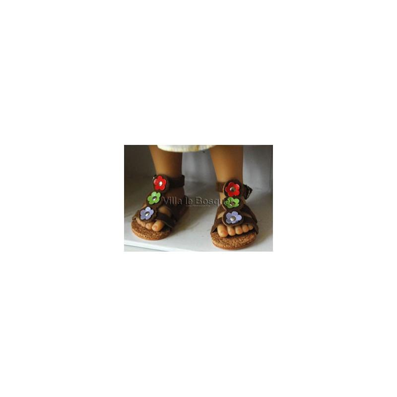 SANDALES DE POUPEE A FLEURS - chaussures de poupée à jouer fabriquées en Allemagne
