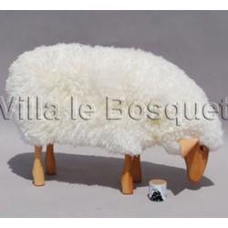 DECO MAISON MOUTON EN BOIS FRANKIE - déco-mouton en bois avec véritable toison de laine