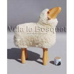 DECO MAISON AGNEAU NEZ EN L'AIR - déco-mouton en bois avec véritable toison de laine