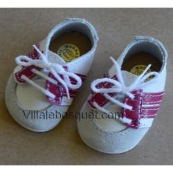 CHAUSSURES DE SPORT WAGNER EN CUIR BORDEAUX - chaussures de poupées