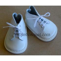 CHAUSSURES DE HAUTES WAGNER EN CUIR BLANC - chaussures de poupées