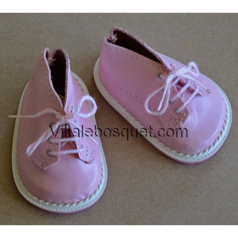 CHAUSSURES DE HAUTES WAGNER EN CUIR ROSE - chaussures de poupées