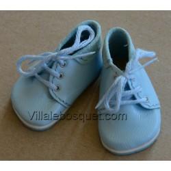 BOOTS WAGNER EN CUIR BLEU-CIEL - chaussures de poupées