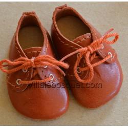 CHAUSSURES WAGNER EN CUIR CANNELLE - chaussures de poupées