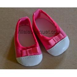 FINOUCHE BALLERINES DE POUPEE ROSES/BLANCHES- chaussures de poupée