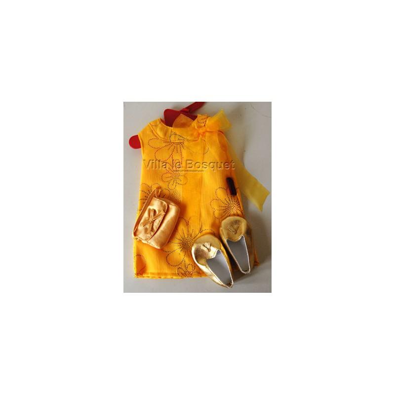 GÖTZ ROBE DE POUPEE JAUNE - vêtement Götz pour poupées