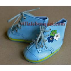 BOTTILLONS WAGNER EN CUIR BLEU AVEC FLEURS - chaussures de poupées