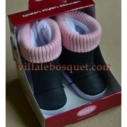 GÖTZ BOTTES NOIRES/BORDURE TRICOT - chaussures Götz pour poupées