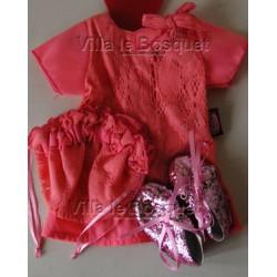 GÖTZ ROBE DE POUPEE EN DENTELLE ROSE - vêtement Götz pour poupées