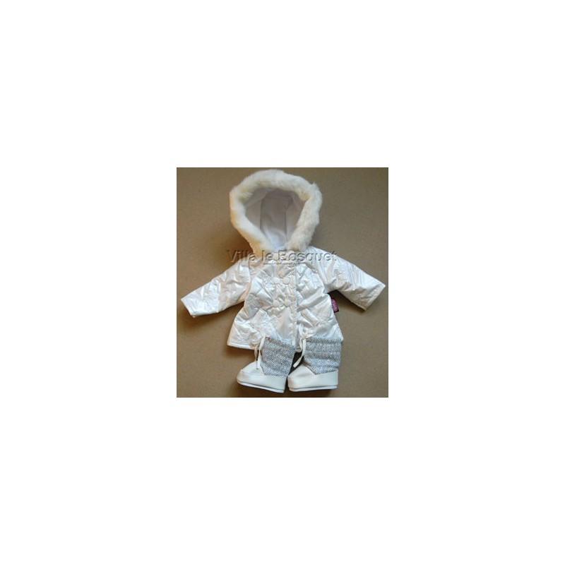 GÖTZ VESTE HIVER BLANC AVEC BOTTES - vêtement Götz pour poupées