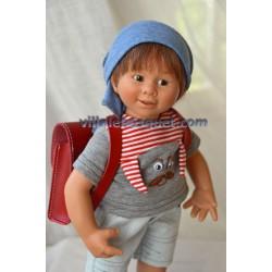 CARTABLES POUR POUPEES EN CUIR ROUGE - accessoire pour poupées