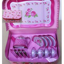 DINETTE POUR POUPEE ROSES - décoration pour poupées