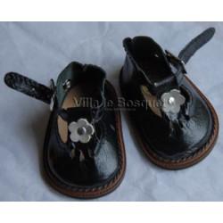 CHAUSSURES DE POUPEE WAGNER EN CUIR NOIR AVEC BOUCLE- chaussures de poupée à jouer fabriquées en Allemagne