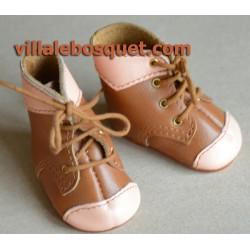 BOTTILLONS WAGNER EN CUIR BEIGE - chaussures de poupées