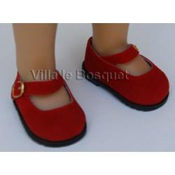 CHAUSSURES DE POUPEE EN DAIM ROUGE - chaussures de poupées