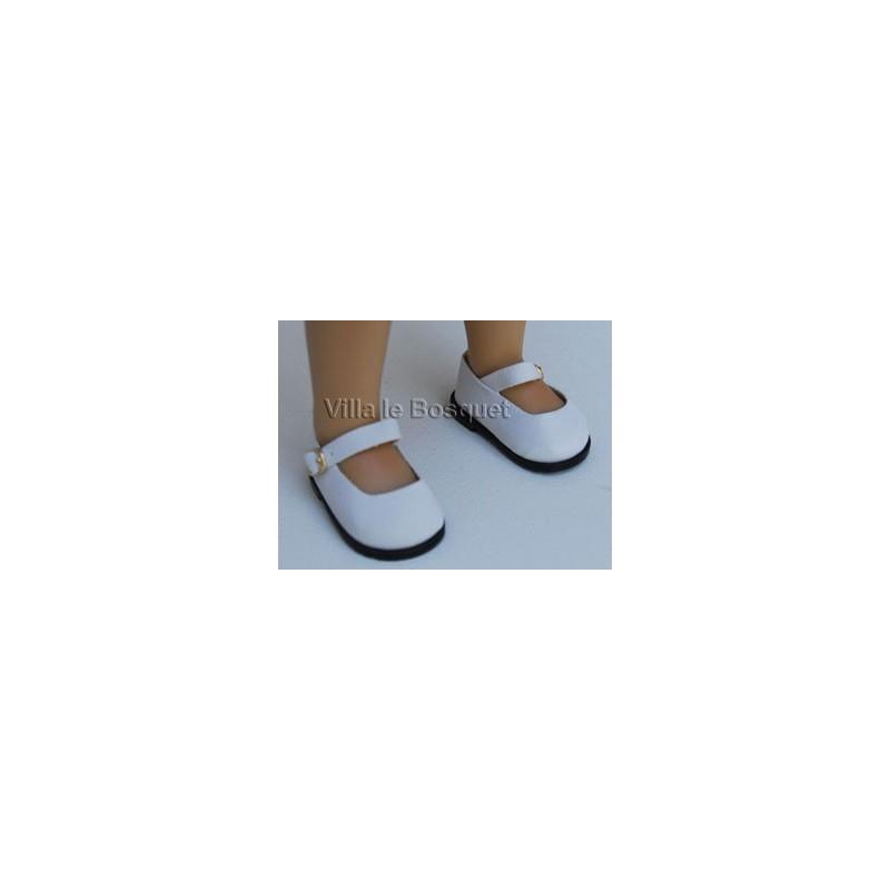 CHAUSSURES DE POUPEE EN DAIM BLANC - chaussures de poupées