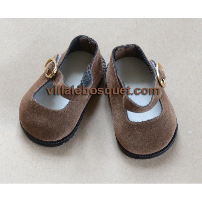 CHAUSSURES DE POUPEE EN DAIM  BRUN CLAIR - chaussures de poupées