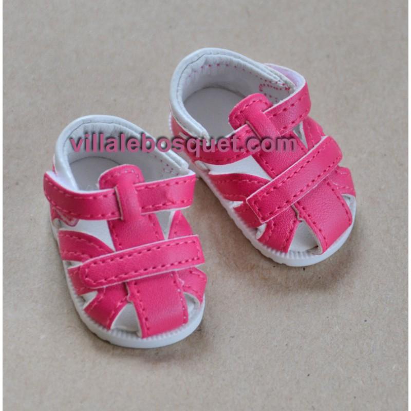 SANDALES EN CUIR ROSE POUR POUPEES - chaussures de poupée à jouer fabriquées en Allemagne