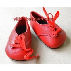 CHAUSSURES DE POUPEE A LACET EN CUIR ROUGE - chaussures de poupées
