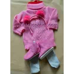 GÖTZ PULL HIVER EN ROSE - vêtement Götz pour poupées