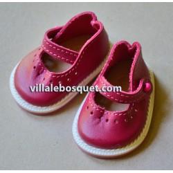 BALLERINES WAGNER EN CUIR ROUGE CARMIN - chaussures de poupées