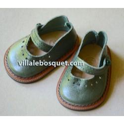 BALLERINES WAGNER EN CUIR VERT - chaussures de poupées