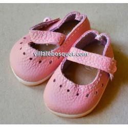 BALLERINES WAGNER EN CUIR ROSE  - chaussures de poupées