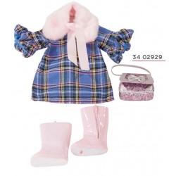 GÖTZ ROBE ENSEMBLE AUX CARREAUX BLEUS - vêtement Götz pour poupées