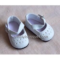 FINOUCHE CHAUSSURES A BRIDE BLANCHES 48 CM - chaussures de poupée
