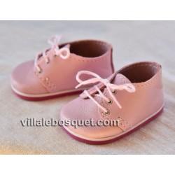 CHAUSSURES A LACET WAGNER EN CUIR ROSE - chaussures de poupées