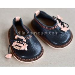CHAUSSURES HAVERL WAGNER EN CUIR VIOLET - chaussures de poupées