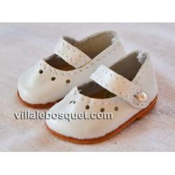 BALLERINES MARY JANE WAGNER EN CUIR BLANC - chaussures de poupées