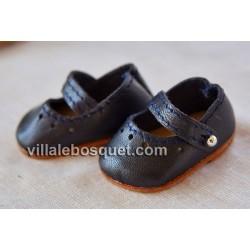 BALLERINES MARY JANE WAGNER EN CUIR BLEU/NOIR - chaussures de poupées