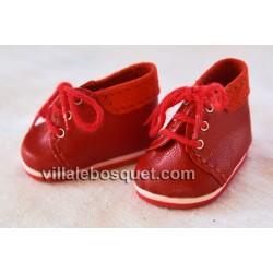 BOTILLONS WAGNER EN CUIR ROUGE - chaussures de poupées