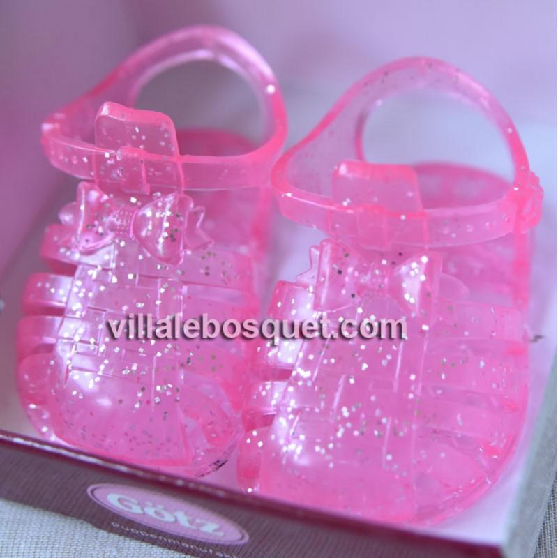 GÖTZ SANDALES A PAILLETTES ROSES - accessoires Götz pour poupées