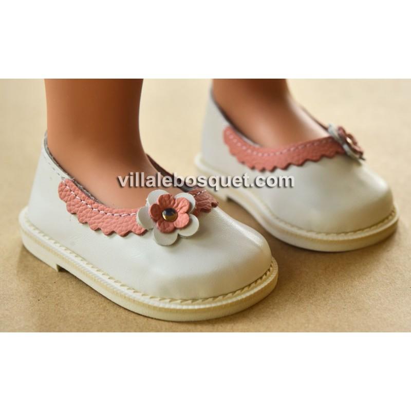 BALLERINES AVEC FLEUR POUR LES POUPEES ZWERGNASE DE 55 CM - chaussures de poupées