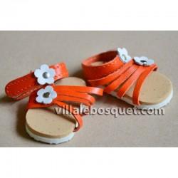 SANDALES WAGNER EN CUIR NATUREL - chaussures de poupées