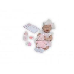 BERENGUER BEBE EN ROBE DENTELLE ROSE  - poupée réaliste de collection et à jouer par Berenguer