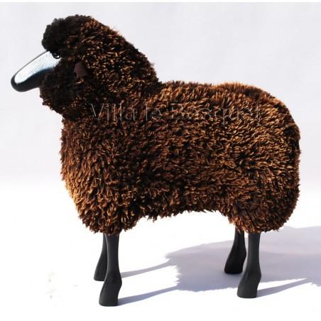Moutons décoratifs en bois et laine